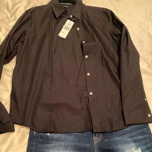 Blk long sleeve button down shirt